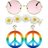 3 Pezzi Set di Costumi Hippie, Include Occhiali da Sole, Orecchini con Segno di Pace e Fascia in Girasole per Donne Ragazze Festa di Carnevale Indossando