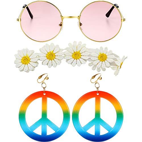 Gejoy 3 Stücke Hippie Kostüm Set, Einschließen Sonnenbrille, Friedenszeichen Ohrringen und Sonnenblumen Stirnband für Damen Mädchen Karneval Party - 70er Jahre Hippie Mädchen Kostüm