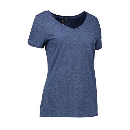 ID Damen Freizeit T-Shirt mit V-Ausschnitt Blau Meliert