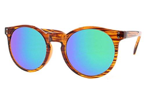 Lunettes de Soleil Rondes Cheapass Aspect Bois Marron Reflétées en Bleu UV-400 Rétro Vintage Plastique Unisexe Marron3