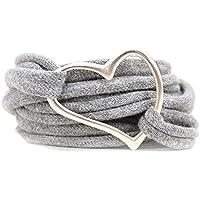 Armband Wickelarmband aus Stoff weich hellgrau oder in Wunschfarbe mit Herz silber individuelle Geschenke mit Liebe zu Ostern und Muttertag