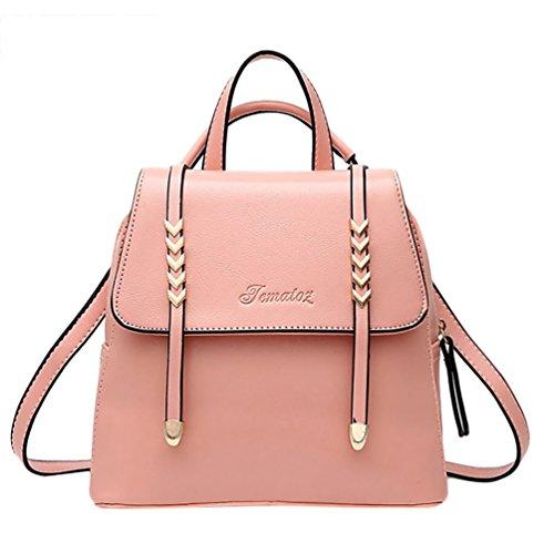 Baymate Donna Scuola Zaini Stile Pelle Morbida Colore Puro Vintage Zaino Pink