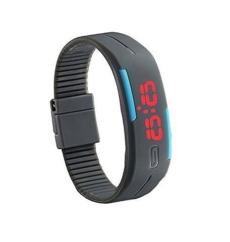BINKO® Ultradünne Sport-Armbanduhr, für Sport im Freien, Silikon, wasserfest, digitalanzeige, für Fitnessstudio / Laufen, LED, größenverstellbare Armbanduhr, Herren Kinder Damen, grau