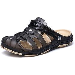 Pisahuevos Zuecos Hombre Playa Piscina Sanitarios Enfermera Goma Verano Zapatillas de Trabajo Sandalias Negro Azul Amarillo 40-45 Negro 42