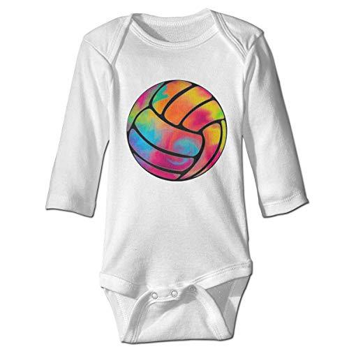 Monicago Neugeborenes Baby Jungen Mädchen Babybody Langarm, Baby Boys Girls Bodysuit Rainbow Volleyball Tie Dye Jumpsuit Onesies Long Sleeve Unisex