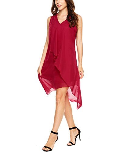 Beyove Damen Chiffon Kleid Elegant Partykleid Strandkleid Sommerkleider Ärmellos Casual Hochzeit mit Ungelmäßiger Saum Rot L