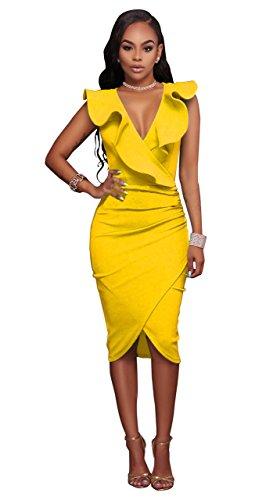 Honeystore Damen's Sexy Tief V-Ausschnitt Volants Ärmellos Kleid Gelb (Kostüme Sie Mieten Online)