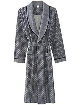 PFSYR Pijamas de hombre/Cómodo camisón/Ropa de casa de otoño e invierno Albornoz de punto de algodón
