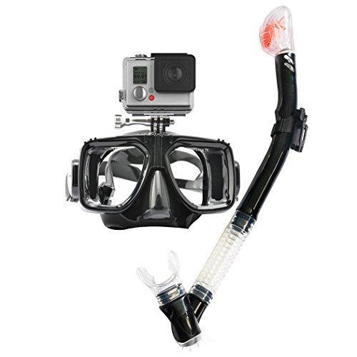 HLC 05-Masque de Plongée Adulte Verre de trempé Réglable Anti-brouillard avec Fixation de Camera détachable pour GoPro Hero-NOIR