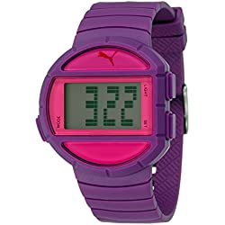 Puma Unisex Half Time-S Time Digital Quartz Watch with Purple Dial and Purple Plastic Strap PU910892005