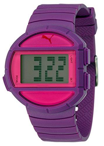 Puma Half Time- S Women's Quartz Watch with Purple Dial Digital Display and Purple Plastic Bracelet PU910892005