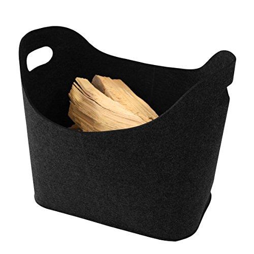 Kamino-Flam Panier en feutre pour bois de cheminée, noir, 339503