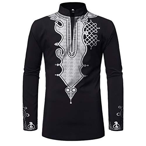 DNOQN Running Shirt Herren T Shirt Lange ärmel Männer Vintage Langarm Bluse African Drucken Gedruckt Stehkragen T-Shirt Top Bluse XL