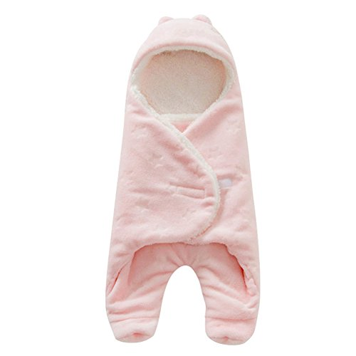 Per Dick getrennte Beine Baby Sleeping Sack mit Kapuze Swaddle Wrap Super Fluffy Double Layers Anti-Kicking Schlafsack für Babys Kleinkinder Neugeborene(Rosa)