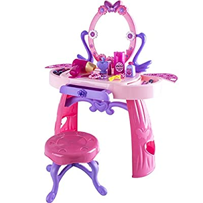 (NDPRW) deAO® Girls Dressing Table Play Set with 26 Piece of Accessories - inexpensive UK dressing table shop.