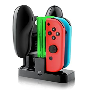 IVSO Nintendo Switch Joy-Con Ladegerät Dockingstation Compact Joy-Con & Pro Controller Ladegerät mit Type-C Ladeanschluss + Elektrisches Licht für Nintendo Switch