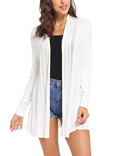 Sykooria Cardigan Damen Langarmshirt Loose Fit Einfarbig Hautfreundlich Outwear Strickjacke Weiß