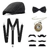 Set di Accessori Anni 1920s per Costume da uomop, Gatsby Costume Kit con Cappello Panama, Bretella Y-Back Elastica, Farfallino, Baffi Finti e Orologio da Taschino Vintage