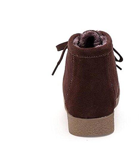 LDMB Suede warme Baumwollschuhe flache Unterseite plus Samt warme Retro- Frauen beiläufige Baumwollschuhe Brown