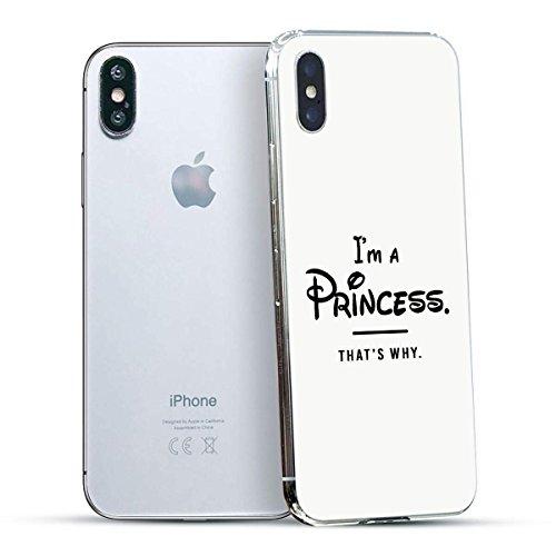finoo | Iphone X Hard Case Handy-Hülle mit Motiv | dünne stoßfeste Schutz-Cover Tasche in Premium Qualität | Premium Case für Dein Smartphone| Kaugummi Pink Princess White