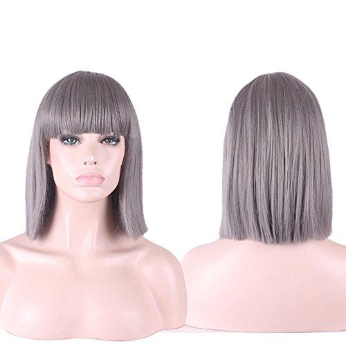 Urparcel Cheveux longue Lisse Perruque courte synthétique Perruque Bob Naturel Pour Femme Vie quotidienne 360 Gris