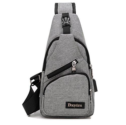 Reise-print Hobo (hossty Herren und Damen Sling Rucksack Brust Taschen Crossbody Taschen Wandern Reisen Rucksack Tagesrucksack mit USB Lade-Schnittstelle)