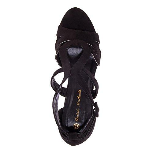 Andres Machado - AM5159 - Umschliessende Sandalen aus Wildleder in Grau AM5159 Schwarz