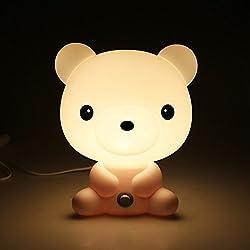 Mignon LED Lampe Enfant Adulte, Lampe Chevet, Lampe Table, Lampe Nuit, Lampe Réveil Veuilleuse en forme d'Ourson Lumière Douce Protection Yeux Prise EU