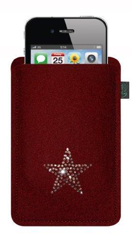 Kringsfashion feltro custodia per iphone 4/s,3, bordeaux, con stella in cristalli swarovski®;