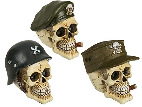MC Trend Totenkopf Army Skull Deko-Figur Mystic Gothic Schädel Militär Schutz-Truppen-Helm Geschenk-Idee (Totenkopf Kappe) (Schädel Kappen, Helme)