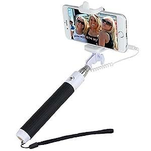 Nalanda Selfie Stick Poche Monopod Pôle Wired Réglable Télescopique Câble Pour IPhone 5s 5c 5 4s 4 Samsung Galaxy Mobile - Noire