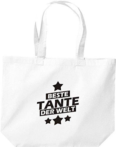 shirtstown grande borsa della spesa, MIGLIORI zia del mondo Bianco
