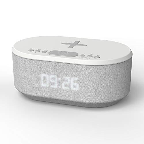Dawn: Radiowecker Funkuhr Digital mit USB-Ladegerät, Bluetooth Lautsprecher mit FM Radio, Kabelloses Qi-Ladegerät, Doppelalarm und Dimmbare LED-Anzeige (UK-Stecker)