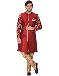 Vastramay Men Silk Blend Sherwani Set (Maroon_VASMSW010nBRRG)