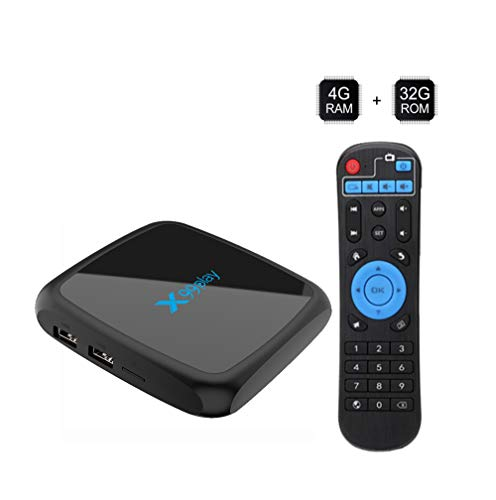 Set-Top-Box für Android 9.0 TV-Box, 4 GB RAM, 64 GB H.265, 4 K-Streaming-Media-Player von Rockchip RK3318, LED-Anzeige mit weißem Licht - Schwarz,4+64G Asf Mpeg Converter