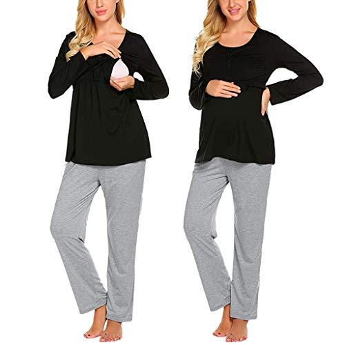 Ucoolcc Schwangere Mutter langärmelige einfarbige multifunktionale Still-Top + einstellbare Hose Pyjama-Set - Umstandsmode Jacke - Schlafanzughose Damen - umstandskleid weiß