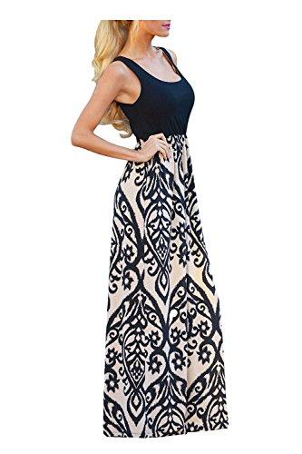 Issza Damen Sommerkleid Lang Kleid Maxikleid Drucken Ärmellos Strandkleid Rundhals High Waist Cocktailkleid Abendkleid Partykleid Schwarz S (Drucken Körper Ärmelloses)