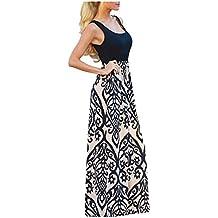 59a07d9ebe9 Issza Femme Col V Longue Robe Sans Manches Maxi impression Taille Haute Mince  Robe de Bohême