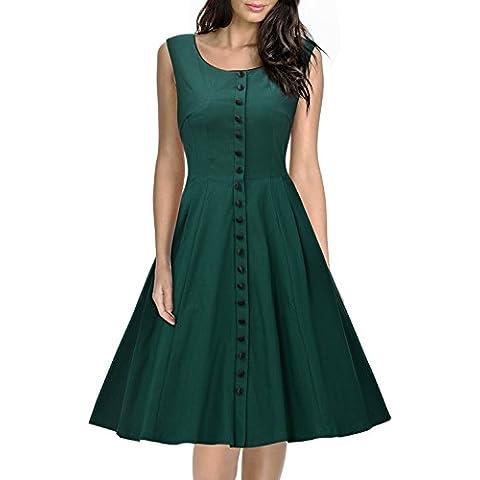 Missmay vestidos de mujer Sin mangas trapecio ropa de mujer casual Verde