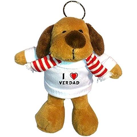 Perro de peluche (llavero) con Amo Verdad en la camiseta (nombre de pila/apellido/apodo)