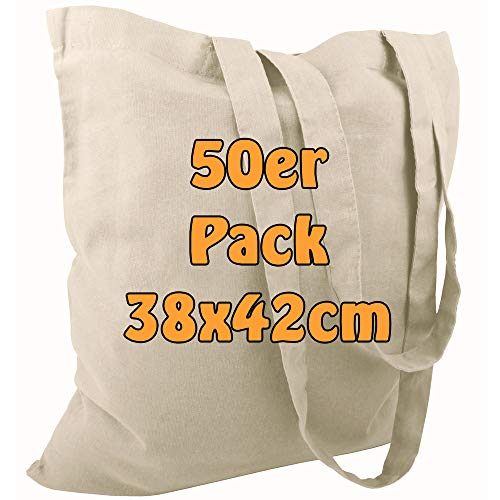 Cottonbagjoe Baumwolltasche Jutebeutel unbedruckt mit Zwei Langen Henkeln 38x42cm (Natur, 50 Stück)