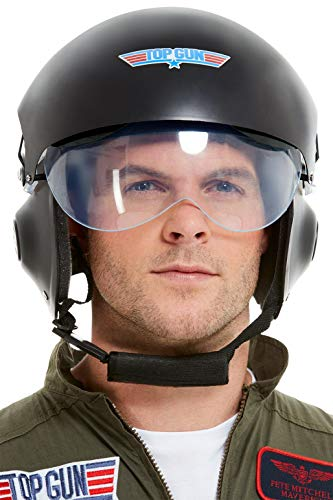 Helm Kostüm Top Gun - Smiffys 42961 Offiziell lizenzierter Top Gun Deluxe Helm, Herren, Schwarz, Einheitsgröße