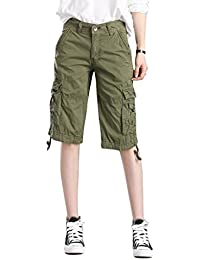 MUST WAY Women's Cotton Casual Loose Fit Twill Bermuda Cargo Shorts with Multi Pockets