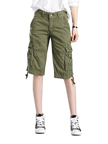 MUST WAY Women's Cotton Casual Loose Fit Plus size Twill Bermuda Cargo Shorts with Multi Pockets
