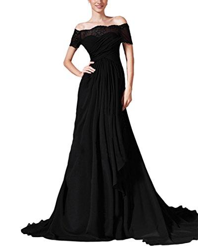 VKStar® Elegant Abendkleid lang Schulterfrei Chiffon formales Party Spitze Ballkleid Festkleid Brautmutterkleid Schwarz