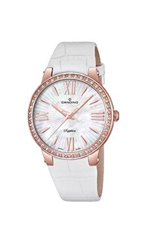 Candino-Orologio da donna al quarzo con Display analogico e cinturino in pelle bianco C4598/1