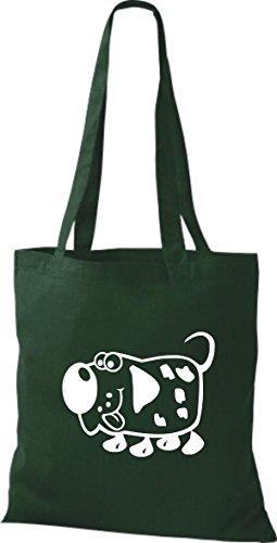 Shirtstown Pochette en tissu Animaux Chien Dog Vert - Vert