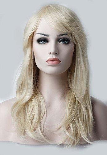 S-noilite 56cm Damen Layered Haar Perücke volle Kopf Bleach Blond Perücke Wig -
