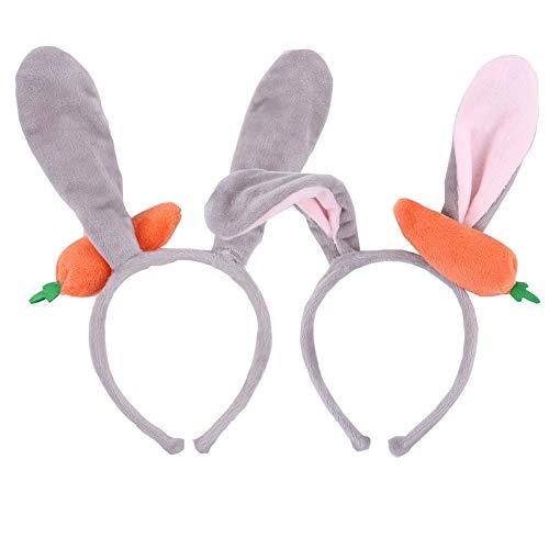 (AFUNDAY 2 Stück Plüsch Haarband Hasenohrstirnband Kopfbedeckungen für Kinder Erwachsene Weihnachten Verkleidung Party Cosplay)