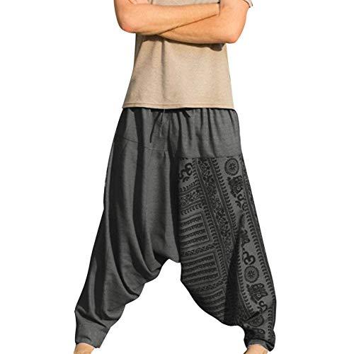 Hosen-stil Hose (MNRIUOCII Herren Haremshose Freizeithose Pluderhose Pumphose Yoga Hose Hip Hop Hipster Nationaler Stil Lang Hose MäNner Einfarbige ÜBergrößEn Traininghose Sporthose Fitness Jogginghose)